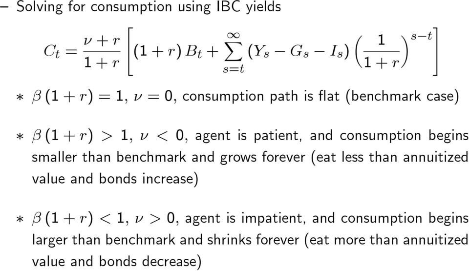 benchmark and grows forever (eat less than annuitized value and bonds increase) β () < 1, ν > 0, agent is