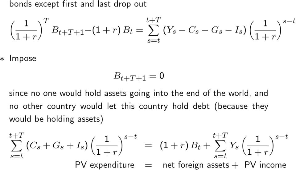 other country would let this country hold debt (because they would be holding assets) t+t ( 1 )