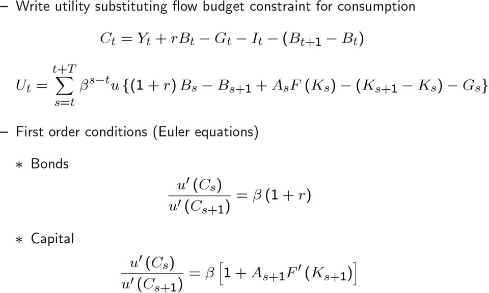 ) (K s+1 K s ) G s } First order conditions (Euler equations) Bonds u (C s