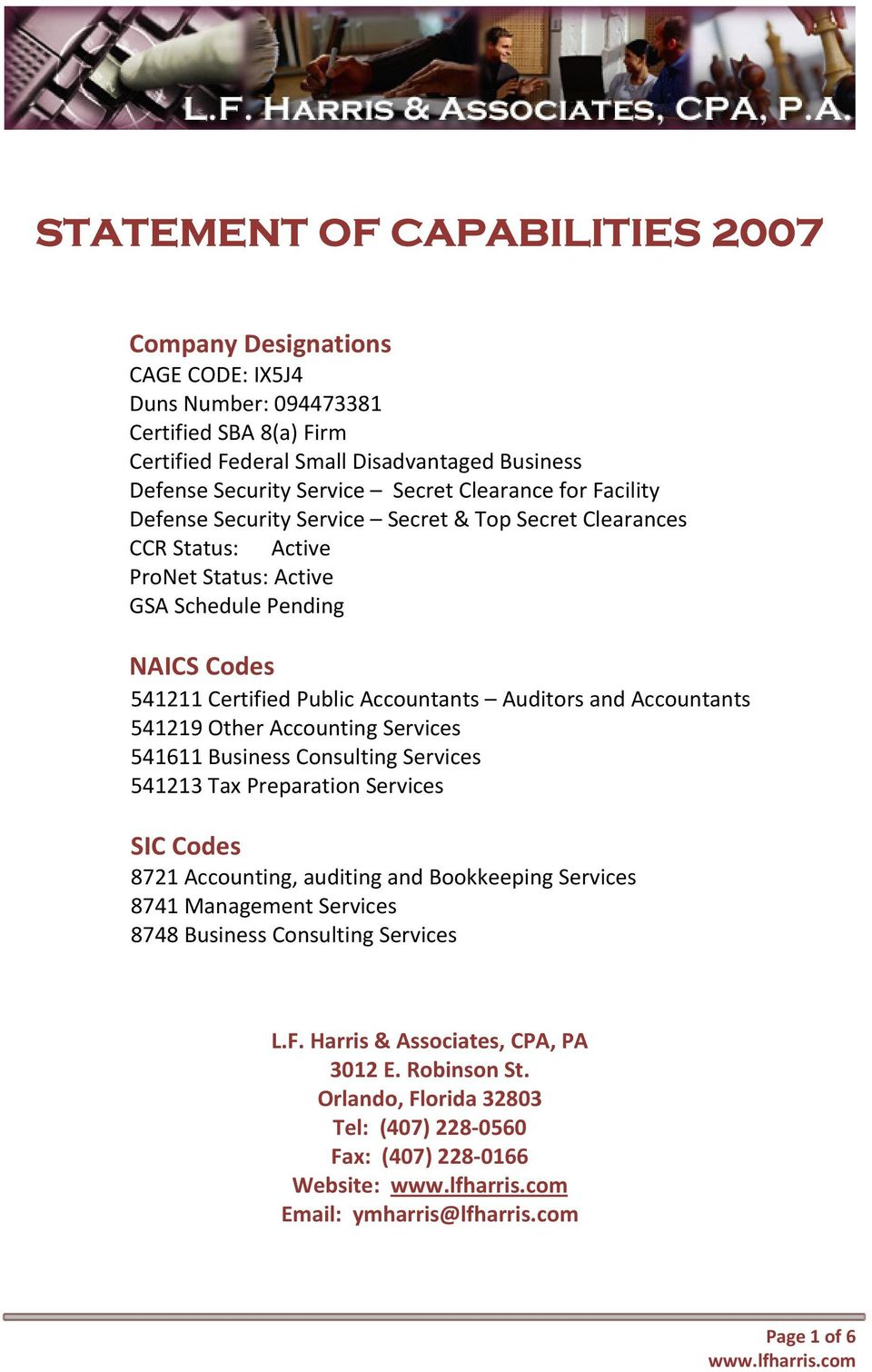 L F  Harris & Associates, CPA, PA The CPA Firm of Distinction - PDF