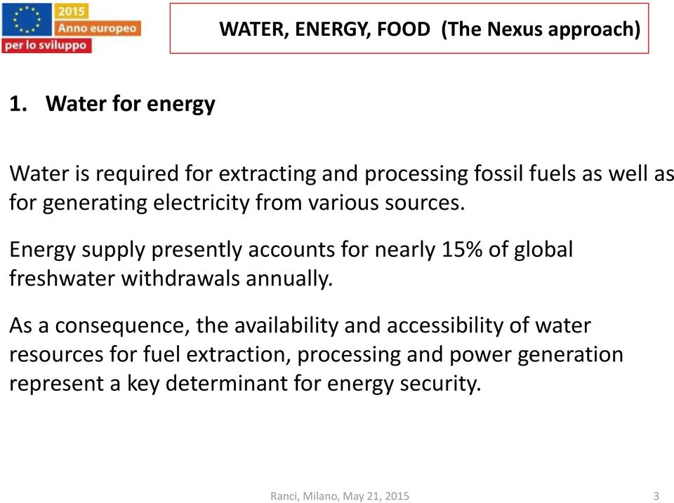 Energy supply presently accounts for nearly 15% of global freshwater withdrawals annually.