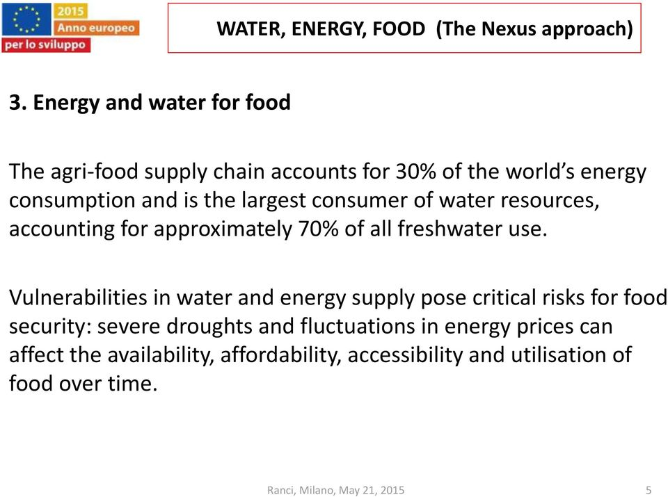 Vulnerabilities in water and energy supply pose critical risks for food security: severe droughts and fluctuations