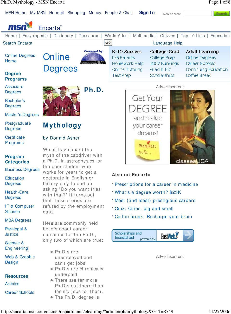 gree Programs Associate Bachelor's Master's Postgraduate Mythology Ph.D.