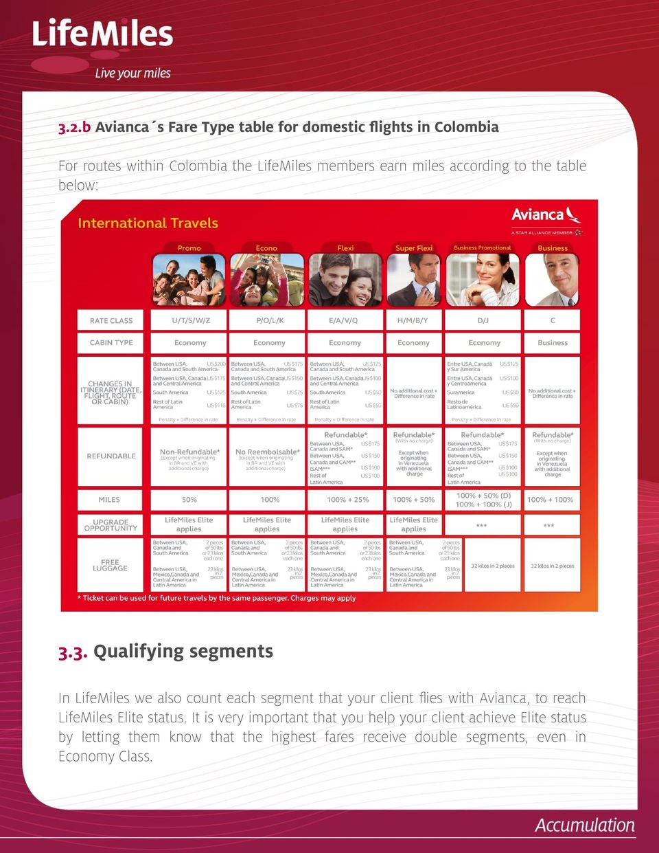 3. Qualifying segments In LifeMiles we also count each segment that your client fies with Avianca, to reach