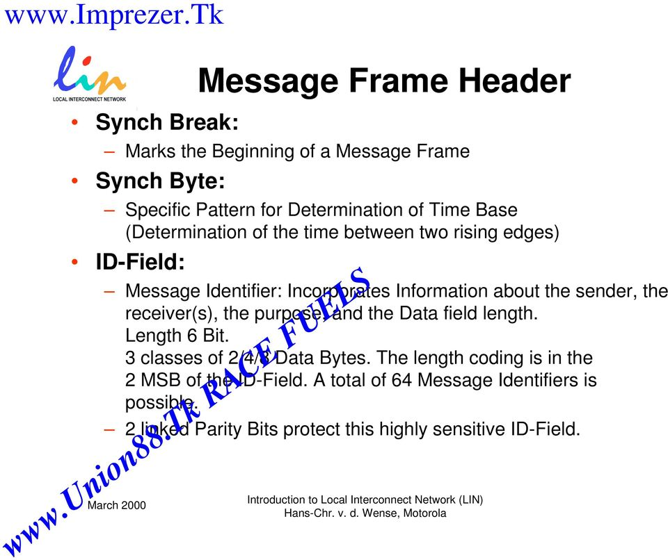 sender, the receiver(s), the purpose, and the Data field length. Length 6 Bit. 3 classes of 2/4/8 Data Bytes.