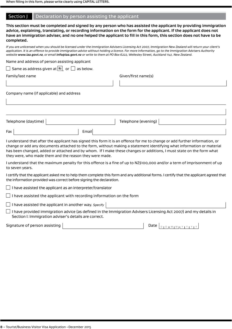 translating, or recording information on the form for the applicant.