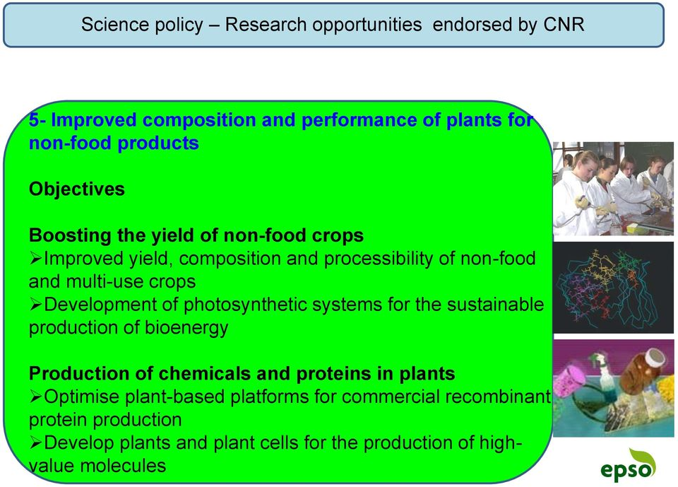 Development of photosynthetic systems for the sustainable production of bioenergy Production of chemicals and proteins in plants