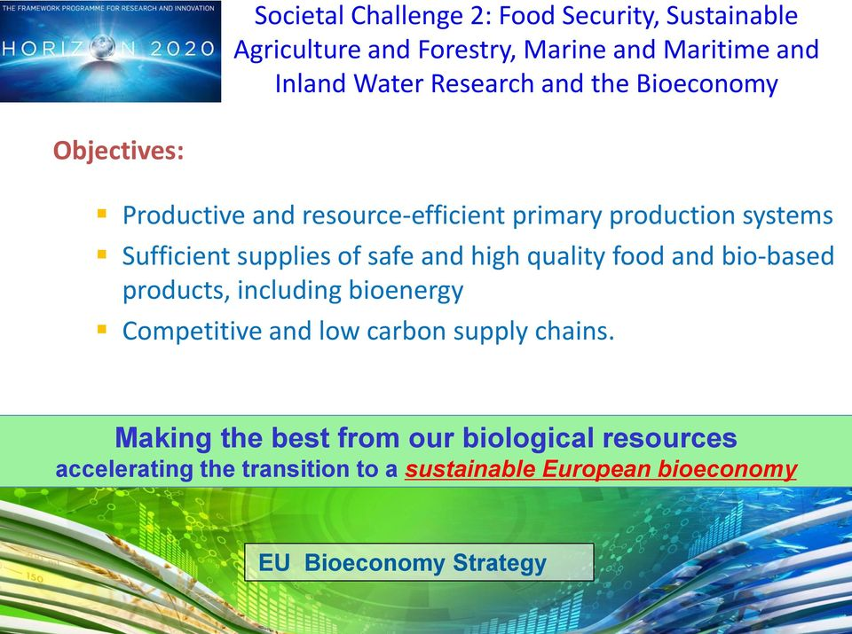 and high quality food and bio-based products, including bioenergy Competitive and low carbon supply chains.