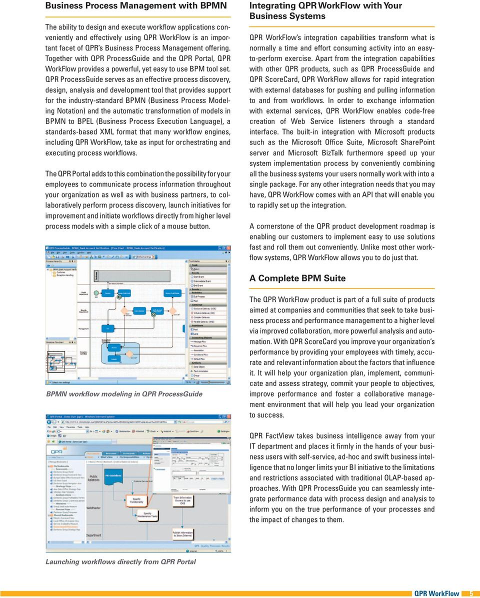 QPR ProcessGuide serves as an effective process discovery, design, analysis and development tool that provides support for the industry-standard BPMN (Business Process Modeling Notation) and the