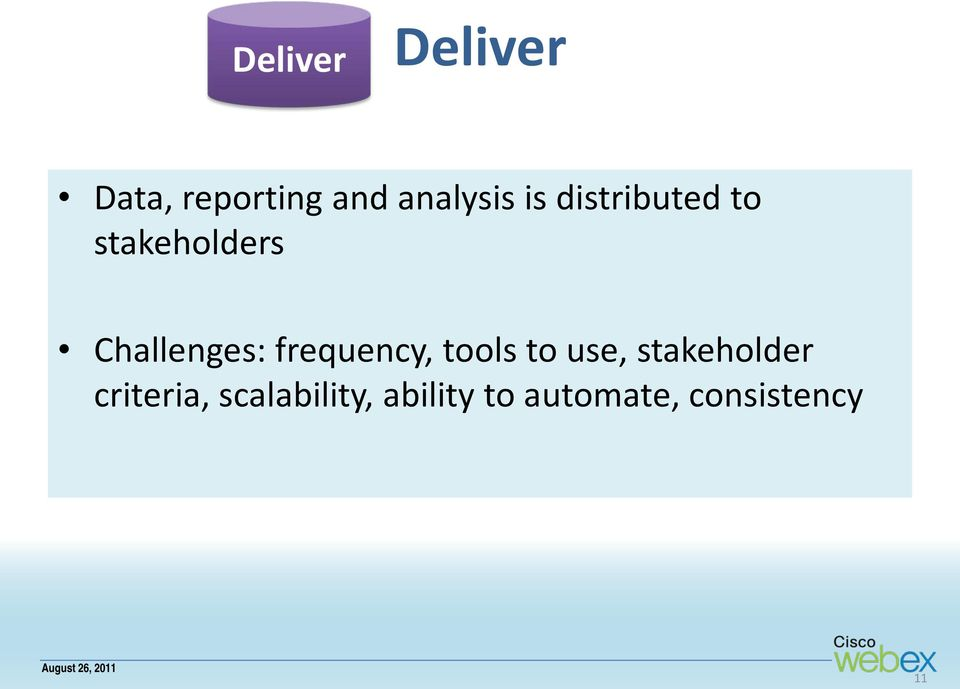 frequency, tools to use, stakeholder