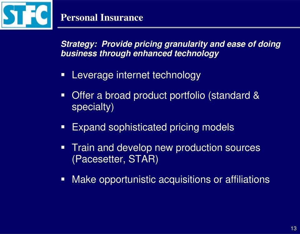 portfolio (standard & specialty) Expand sophisticated pricing models Train and