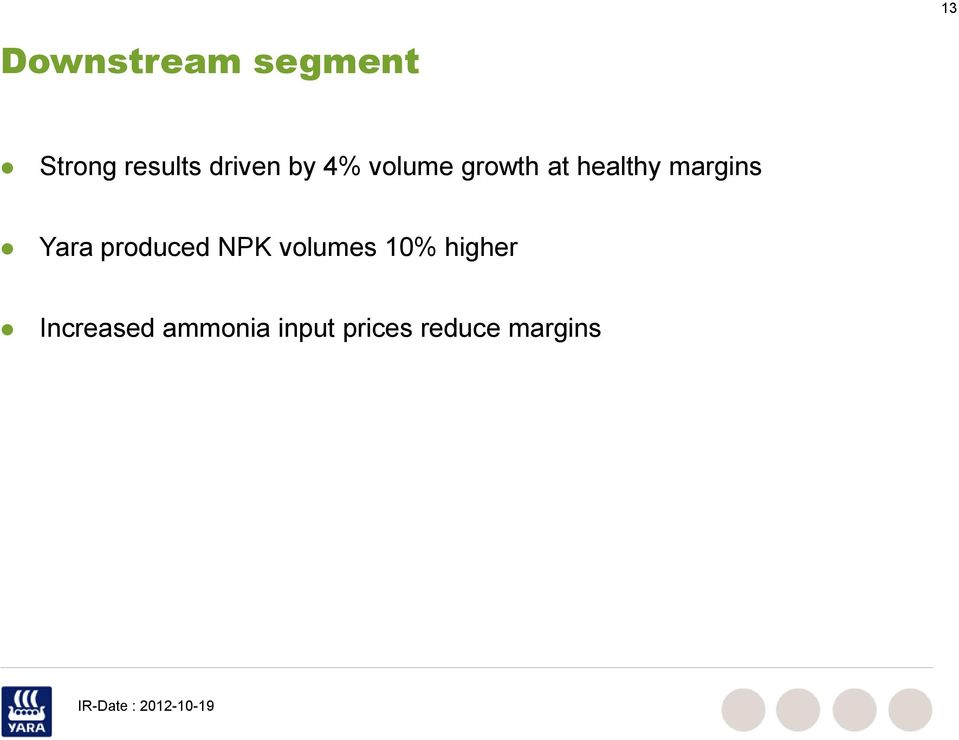 margins Yara produced NPK volumes 1%