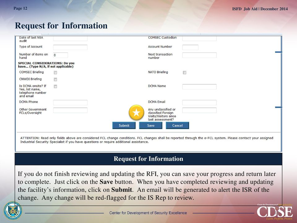When you have completed reviewing and updating the facility s information, click on Submit.