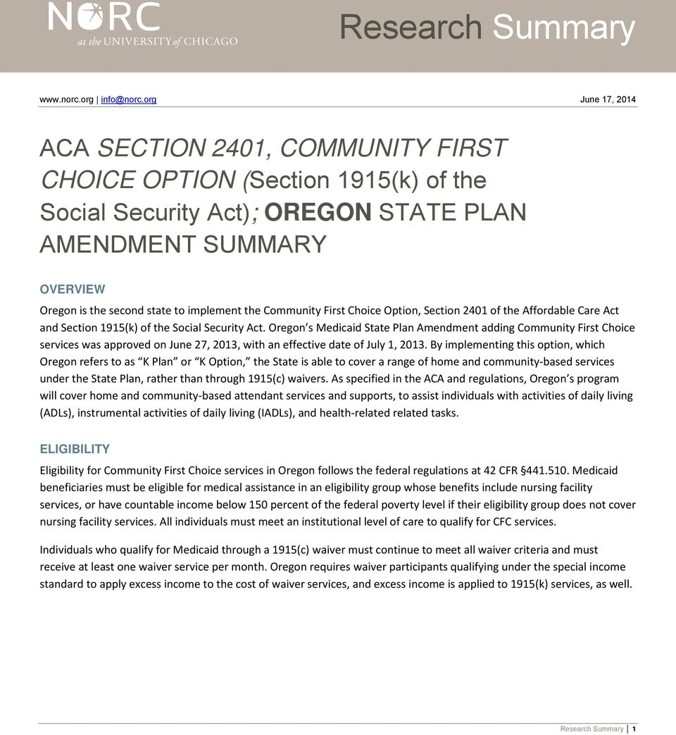 the Community First Choice Option, Section 2401 of the Affordable Care Act and Section 1915(k) of the Social Security Act.