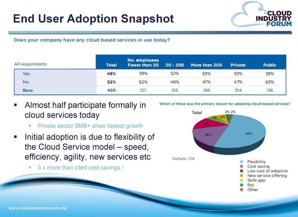 Initial adoption is due to flexibility of the Cloud Service model