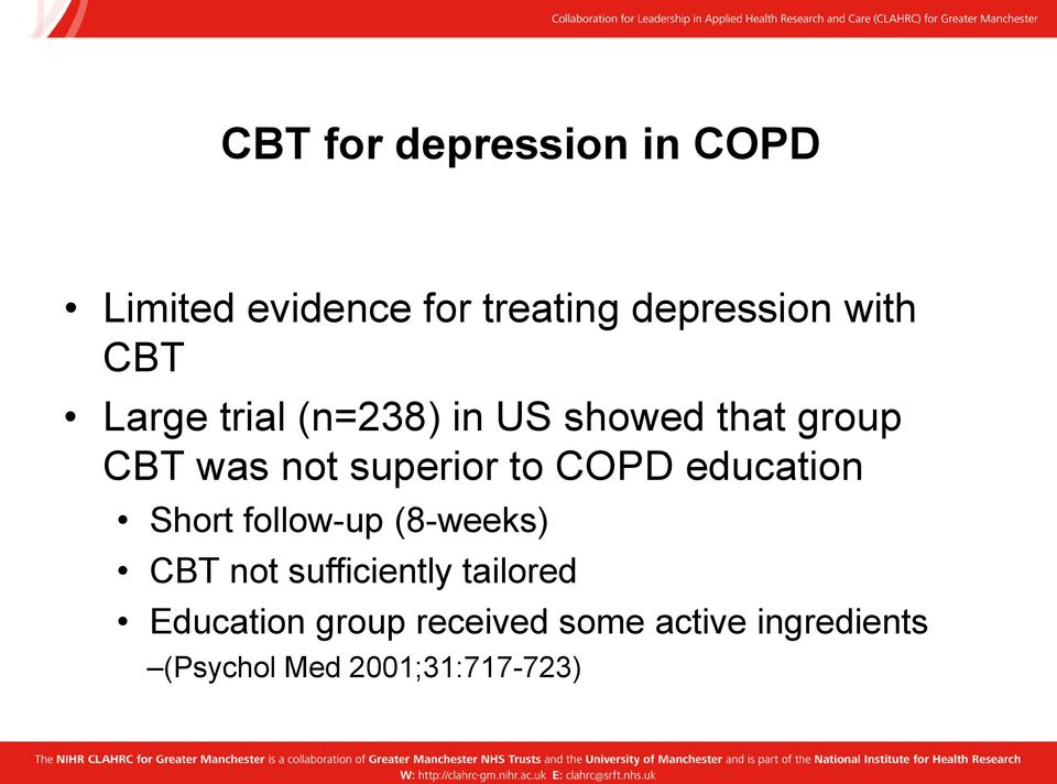 COPD education Short follow-up (8-weeks) CBT not sufficiently tailored