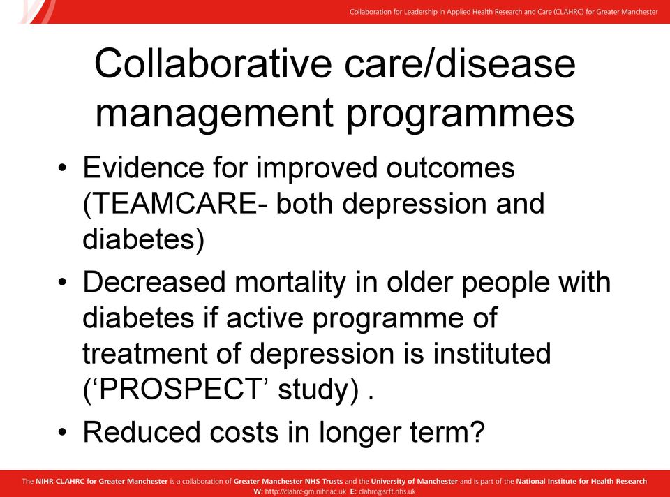 mortality in older people with diabetes if active programme of