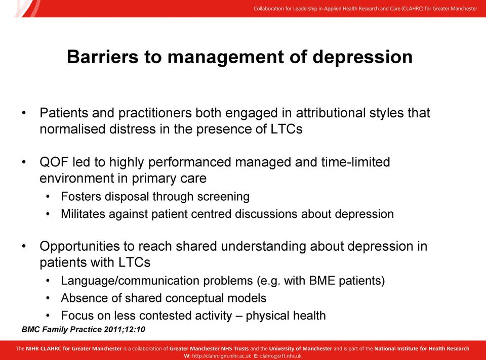 patient centred discussions about depression Opportunities to reach shared understanding about depression in patients with LTCs