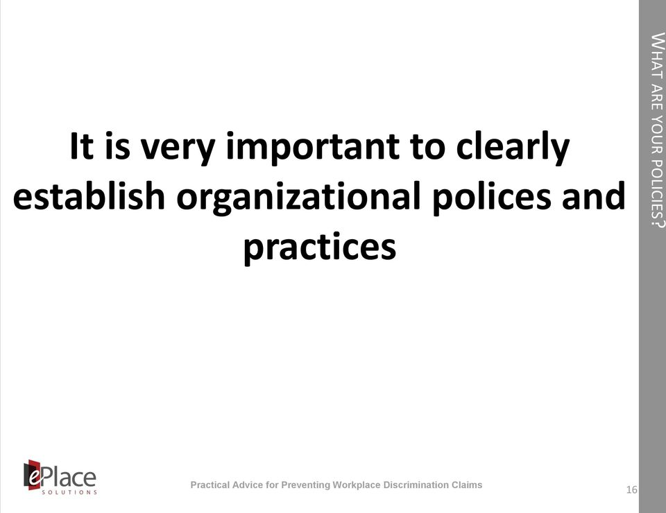 organizational polices and