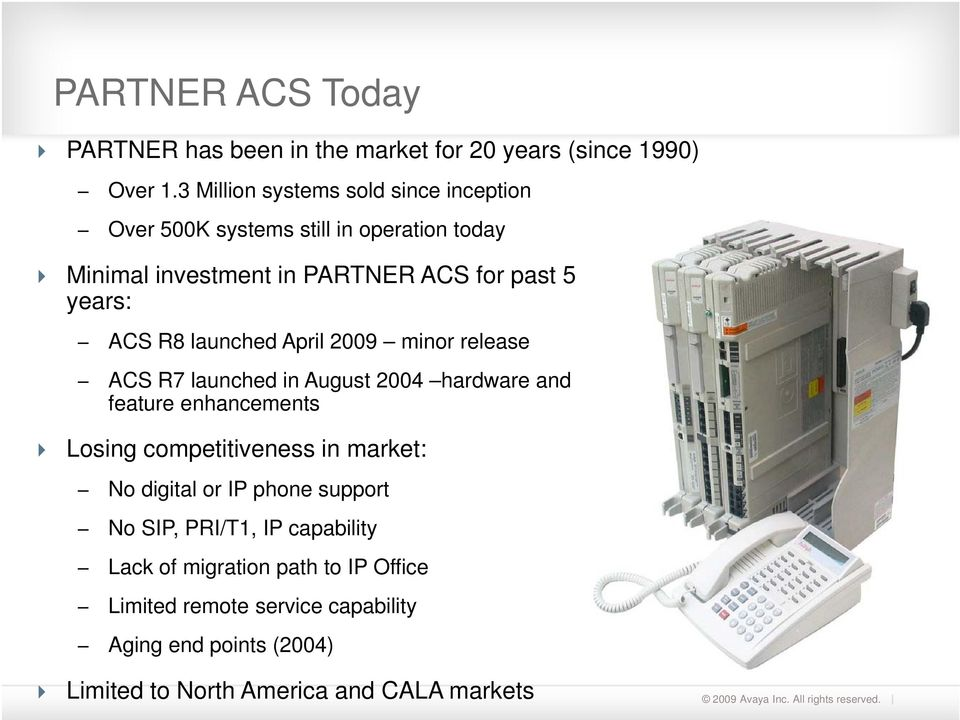 R8 launched April 2009 minor release ACS R7 launched in August 2004 hardware and feature enhancements Losing competitiveness in market: