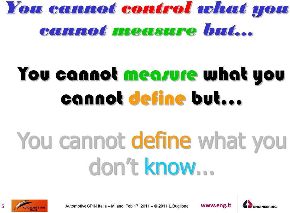 .. You cannot define what you don t know.