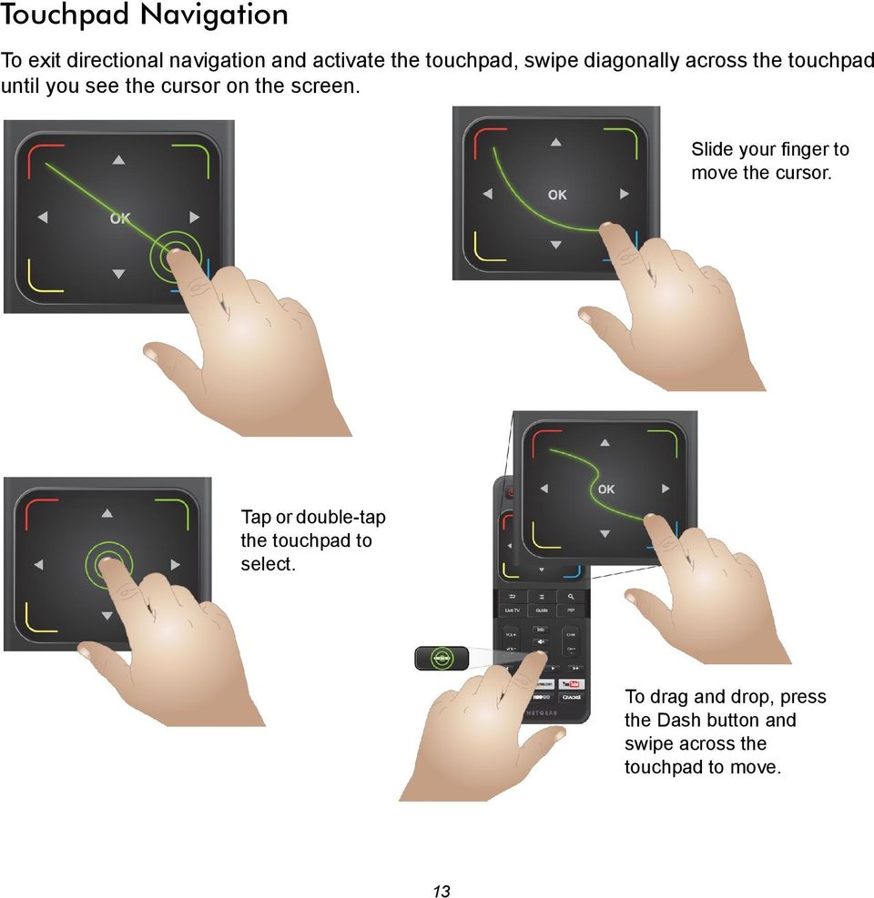 Slide your finger to move the cursor. Tap or double-tap the touchpad to select.