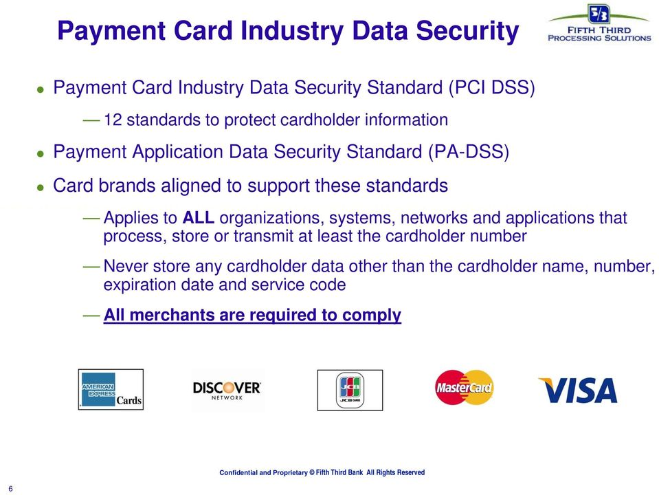 organizations, systems, networks and applications that process, store or transmit at least the cardholder number Never store