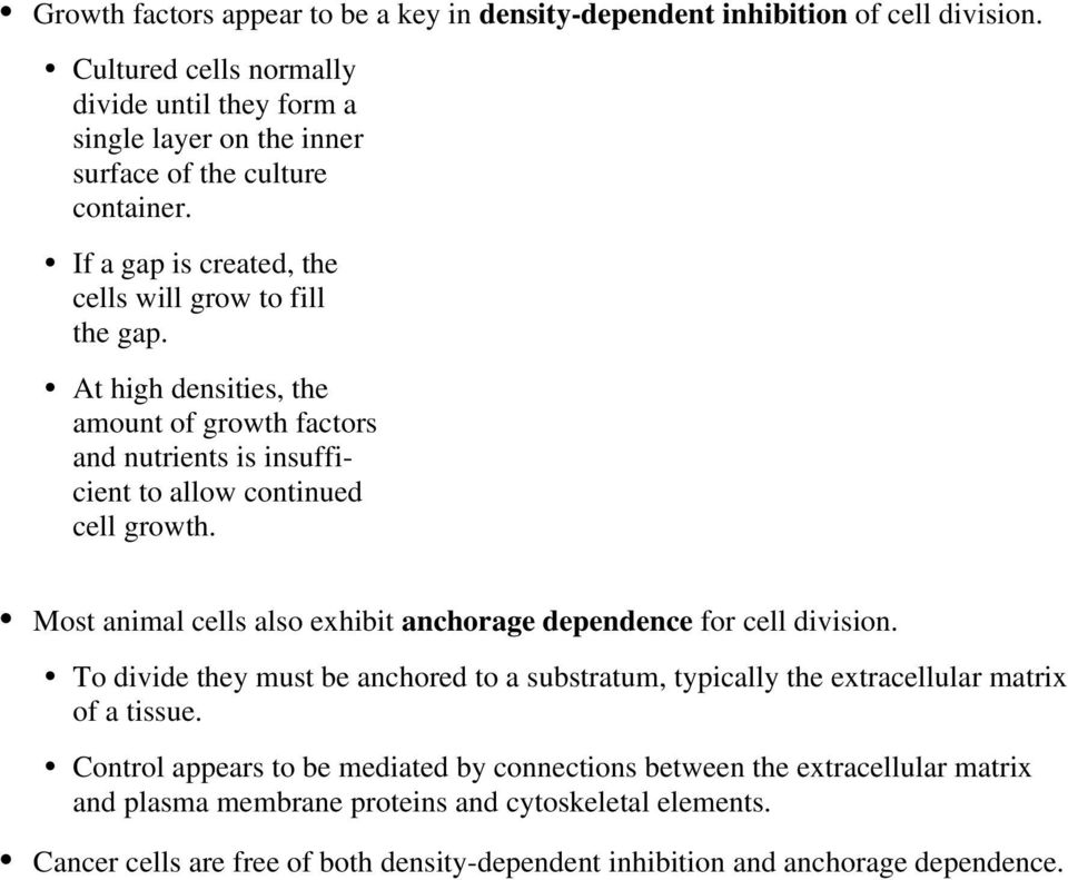 At high densities, the amount of growth factors and nutrients is insufficient to allow continued cell growth. Most animal cells also exhibit anchorage dependence for cell division.