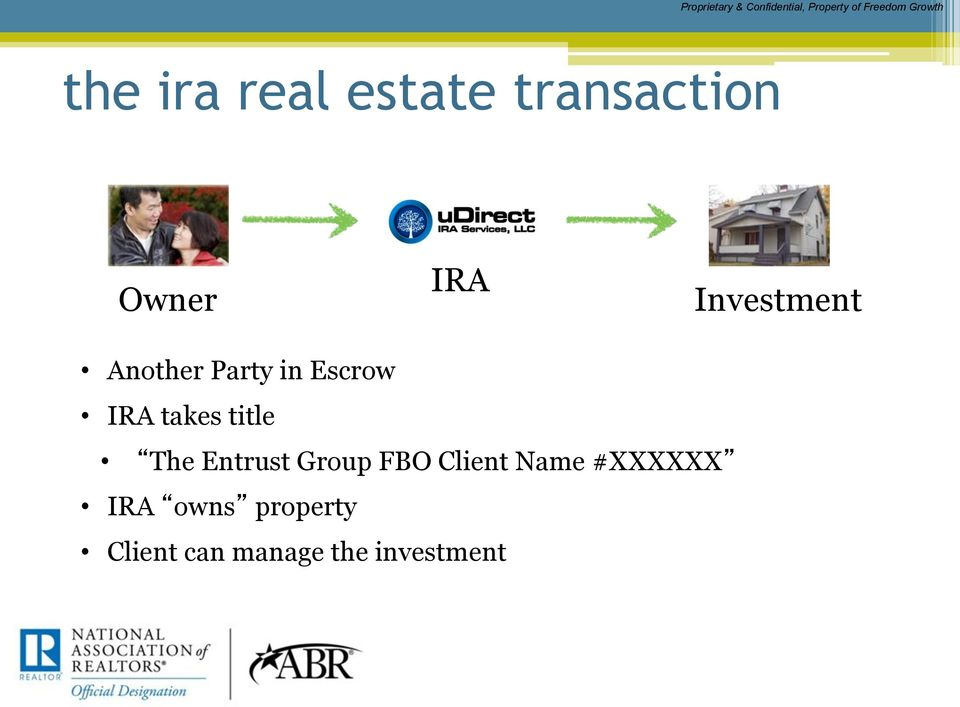 Party in Escrow IRA takes title The Entrust Group FBO