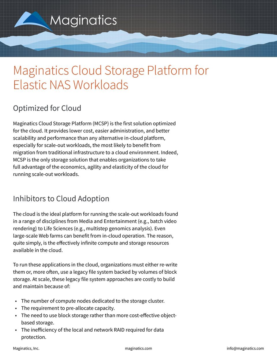 migration from traditional infrastructure to a cloud environment.