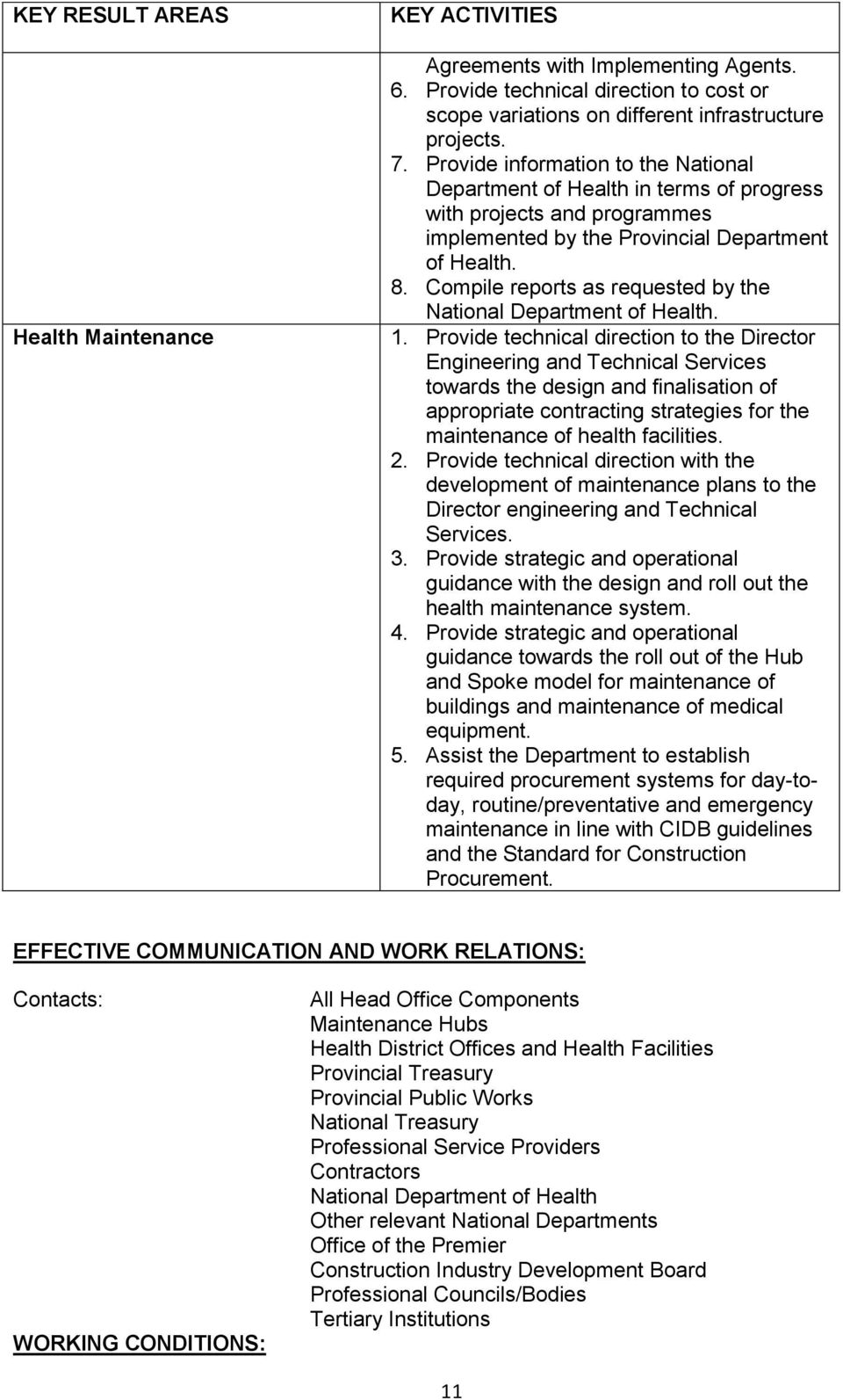 Compile reports as requested by the National Department of Health. 1.