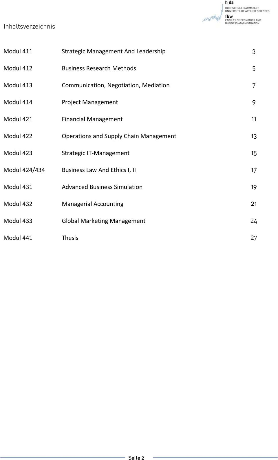 and Supply Chain Management 13 Modul 423 Strategic IT Management 15 Modul 424/434 Business Law And Ethics I, II 17 Modul 431
