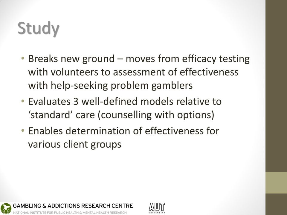 Evaluates 3 well-defined models relative to standard care (counselling