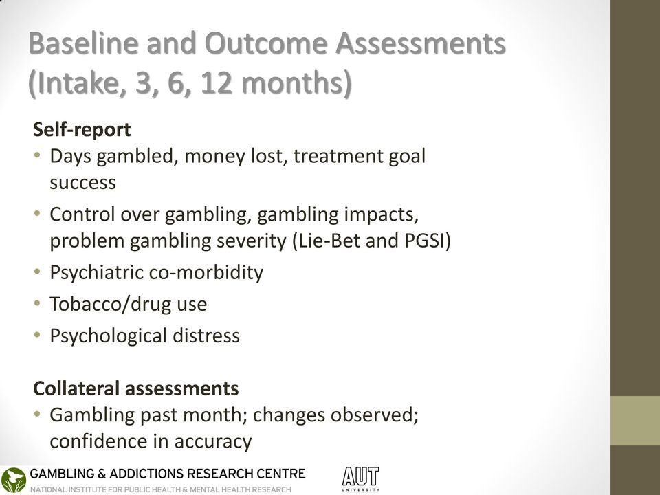 gambling severity (Lie-Bet and PGSI) Psychiatric co-morbidity Tobacco/drug use
