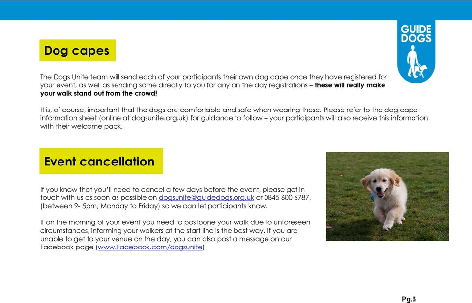 Please refer to the dog cape information sheet (online at dogsunite.org.uk) for guidance to follow your participants will also receive this information with their welcome pack.
