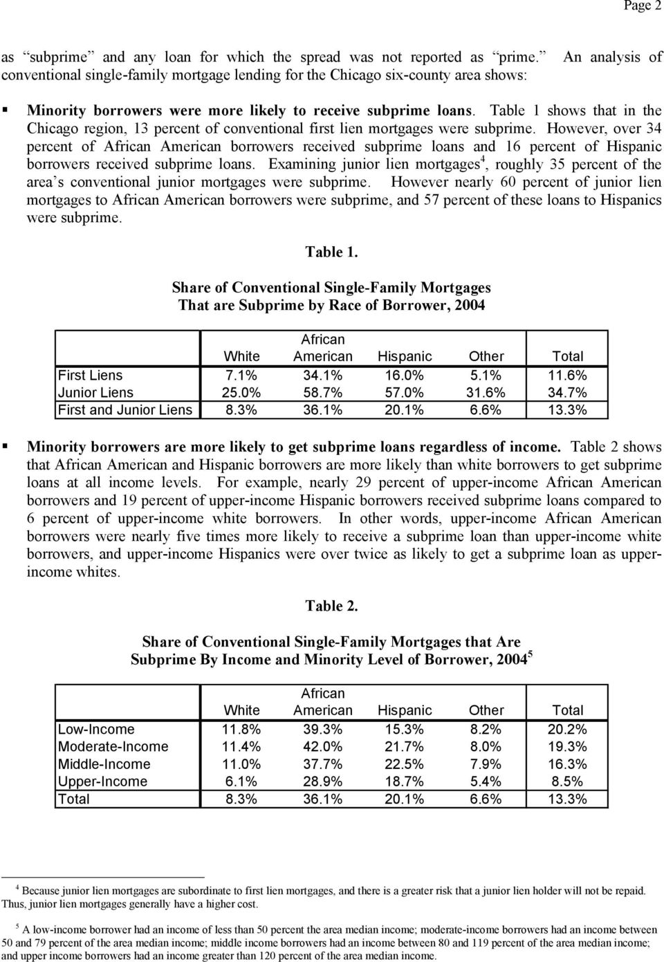 Table 1 shows that in the Chicago region, 13 percent of conventional first lien mortgages were subprime.