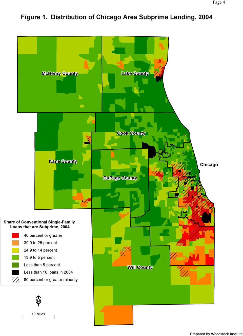Chicago DuPage County Share of Conventional Single-Family Loans that are Subprime, 2004 40 percent or