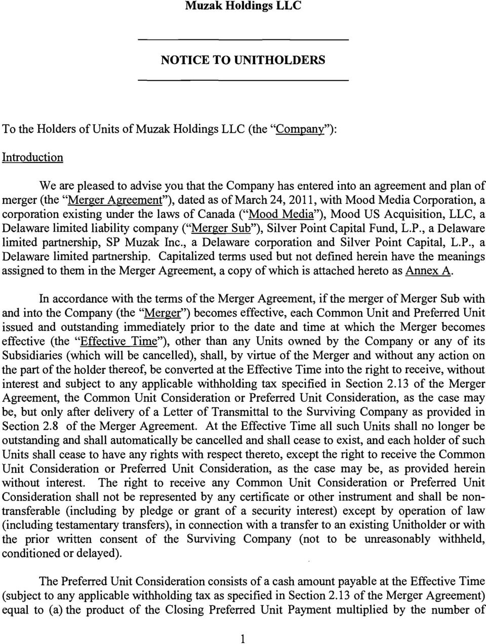 "limited liability company (""Merger Sub""), Silver Point Capital Fund, L.P., a Delaware limited partnership,"