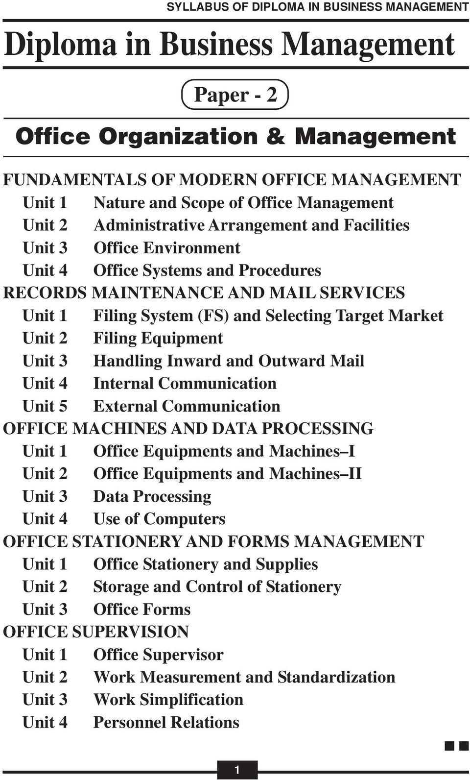 External Communication OFFICE MACHINES AND DATA PROCESSING Office Equipments and Machines I Office Equipments and Machines II Data Processing Use of Computers OFFICE STATIONERY AND FORMS