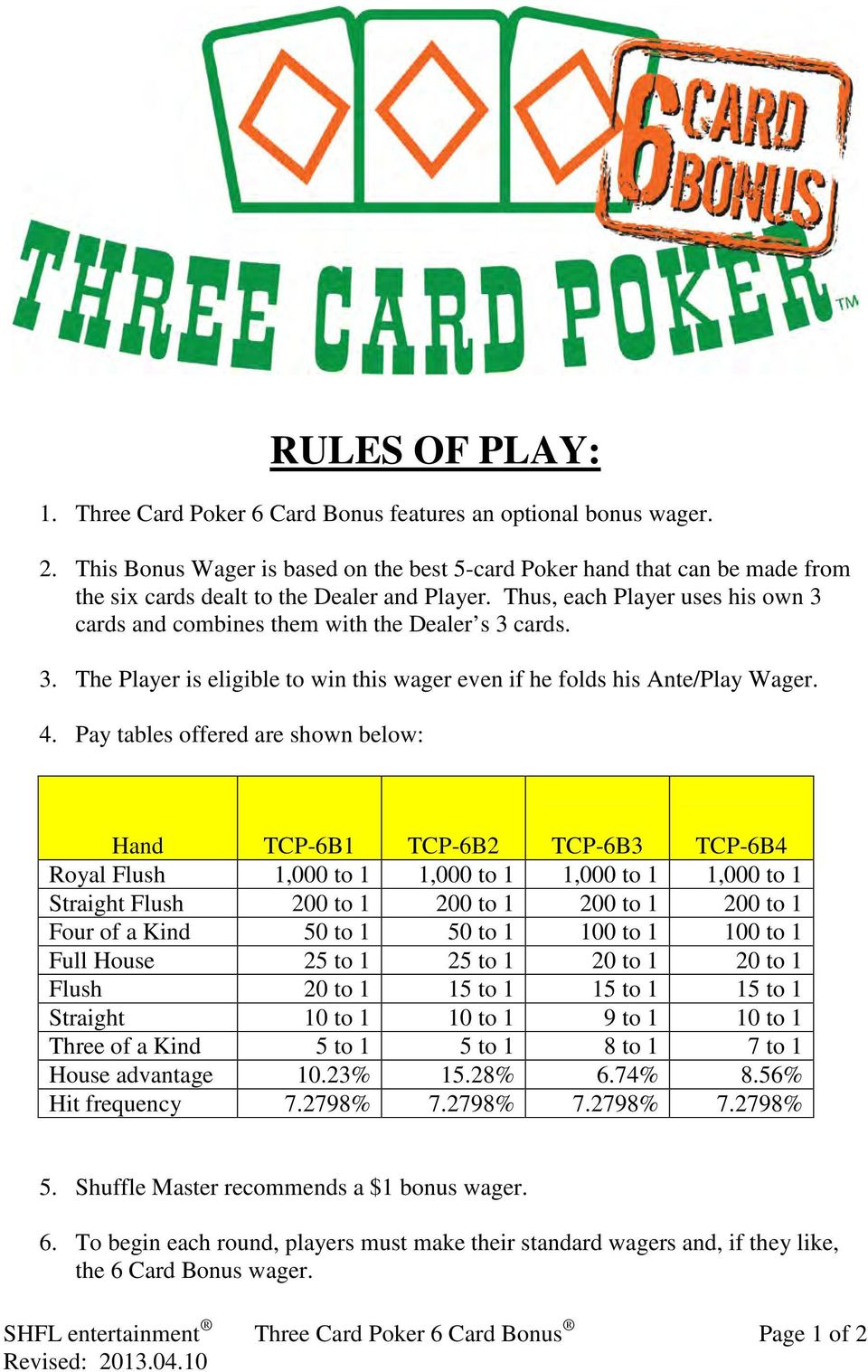 Thus, each Player uses his own 3 cards and combines them with the Dealer s 3 cards. 3. The Player is eligible to win this wager even if he folds his Ante/Play Wager. 4.