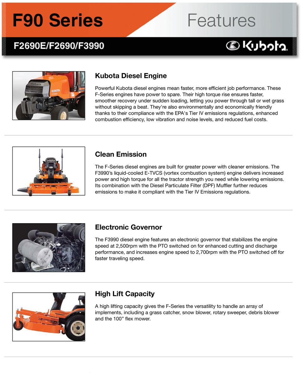 Features  Kubota Diesel Engine  Clean Emission  Electronic Governor