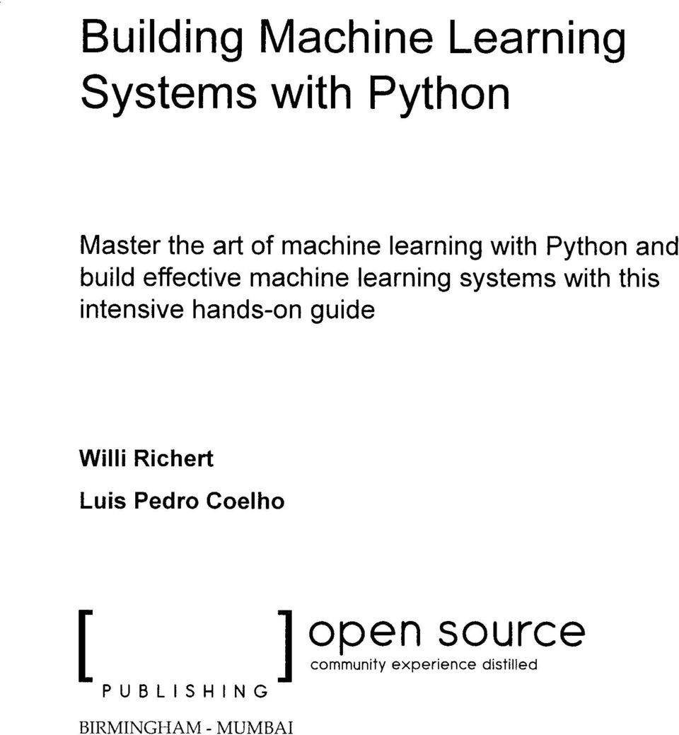 systems with this intensive handson guide Willi Richert Luis Pedro