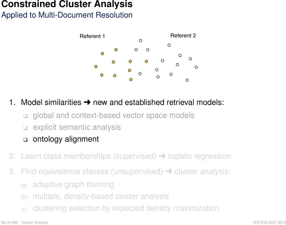 analysis ontology alignment 2. Learn class memberships (supervised) logistic regression 3.