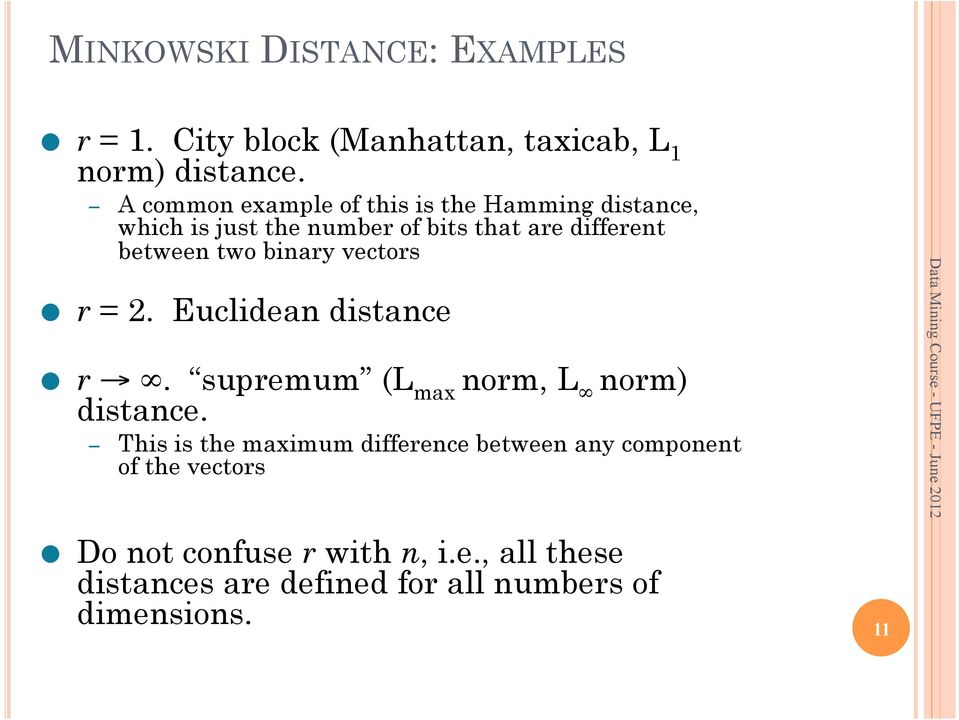 two binary vectors r = 2. Euclidean distance r. supremum (L max norm, L norm) distance.