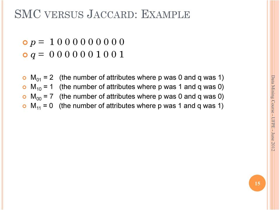 attributes where p was 0 and q was 0) M 11 = 0 (the number of attributes where p was 1 and q was 1) SMC = (M 11 +