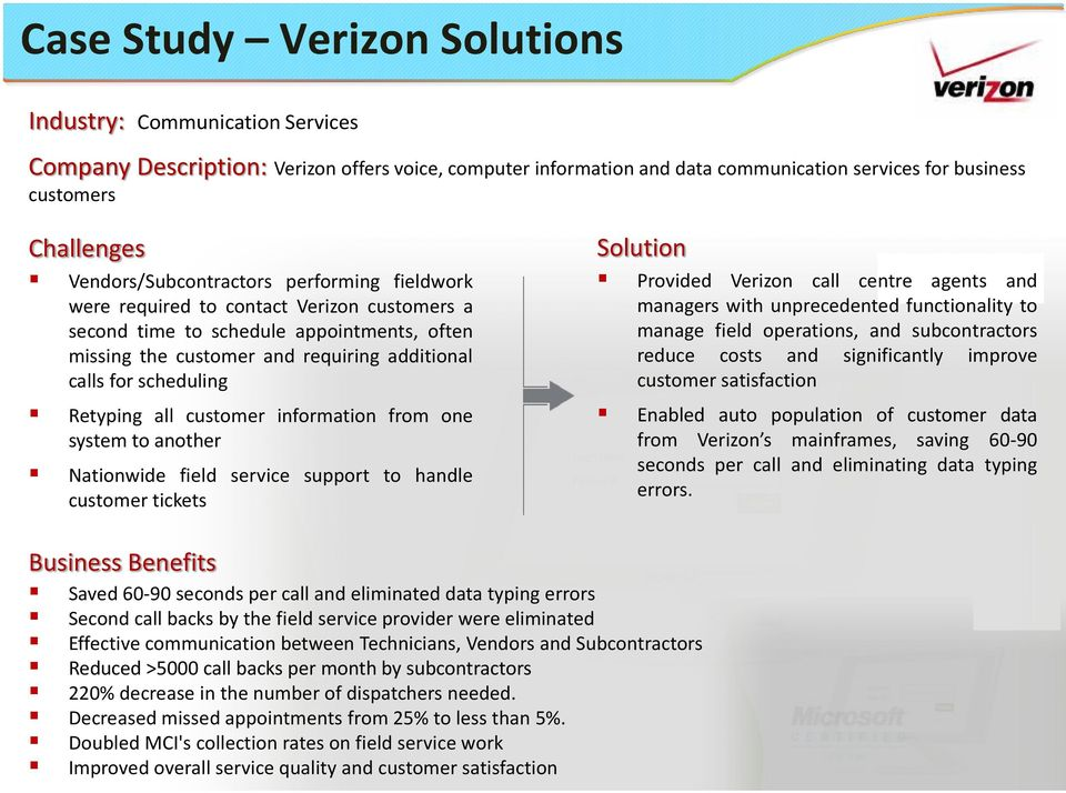 Retyping all customer information from one system to another Nationwide field service support to handle customer tickets Solution Provided Verizon call centre agents and managers with unprecedented