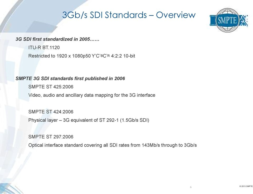 SMPTE ST 425:2006 Video, audio and ancillary data mapping for the 3G interface SMPTE ST 424:2006 Physical