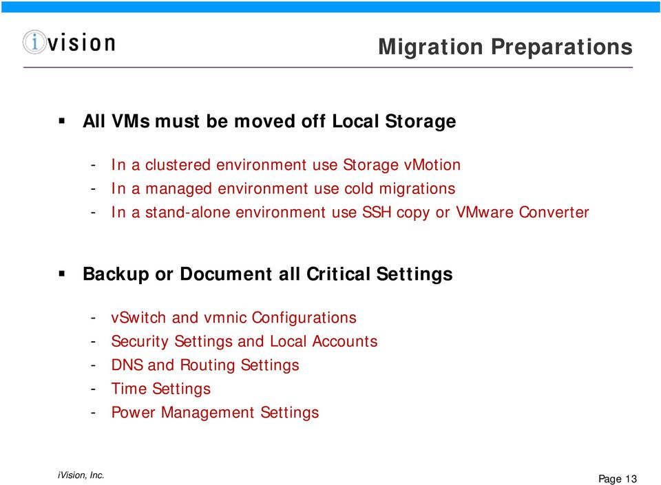 VMware Converter Backup or Document all Critical Settings - vswitch and vmnic Configurations - Security