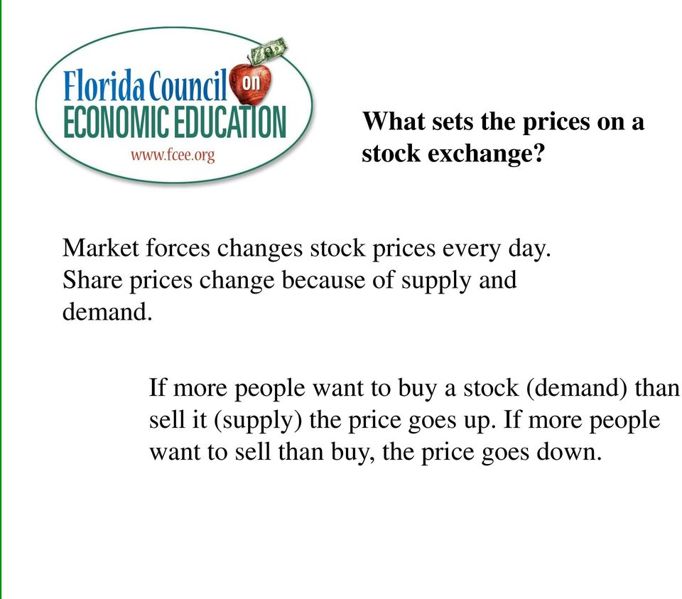 Share prices change because of supply and demand.