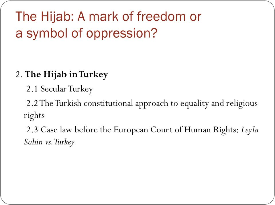 2 The Turkish constitutional approach to equality and